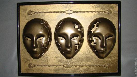 Интерьерные  маски ручной работы. Ярмарка Мастеров - ручная работа. Купить Трио. Handmade. Комбинированный, интерьрная маска, украшение интерьра