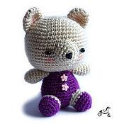 Куклы и игрушки ручной работы. Ярмарка Мастеров - ручная работа Мишка с фиолетовым тельцем. Handmade.