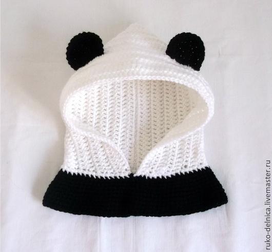 """Шапки ручной работы. Ярмарка Мастеров - ручная работа. Купить Шапка-шлем """"Панда"""" (шапочка теплая зимняя вязаная  капор мишка). Handmade."""