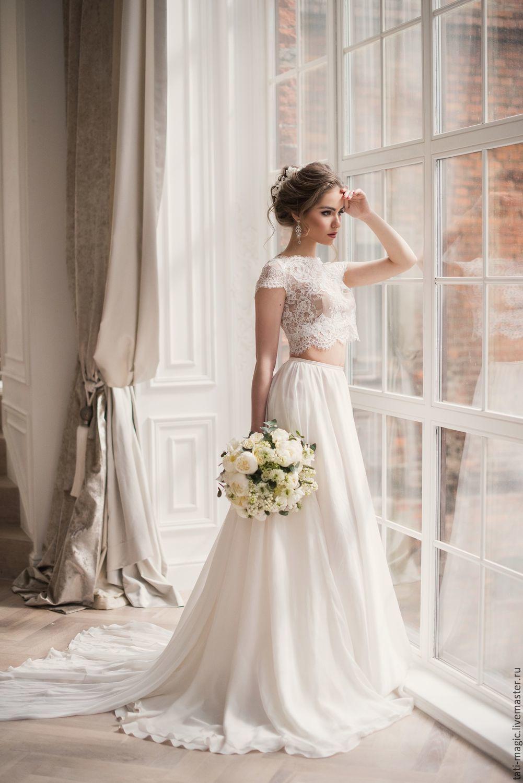 Платье с кроп топом свадебное платье