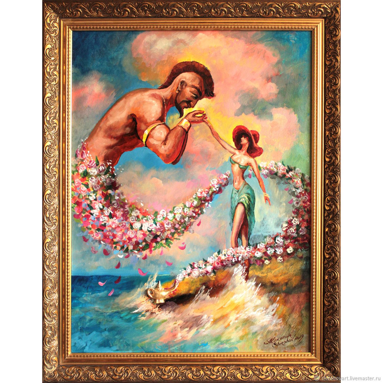"""Картины цветов ручной работы. Ярмарка Мастеров - ручная работа. Купить Авторская картина""""Влюблённый Джинн"""", оформлена в раму. Handmade. Цветы"""