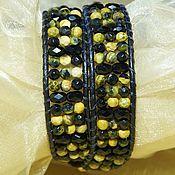 Украшения handmade. Livemaster - original item Yellow-black wide bracelet made of natural stones Tiger Eye. Handmade.