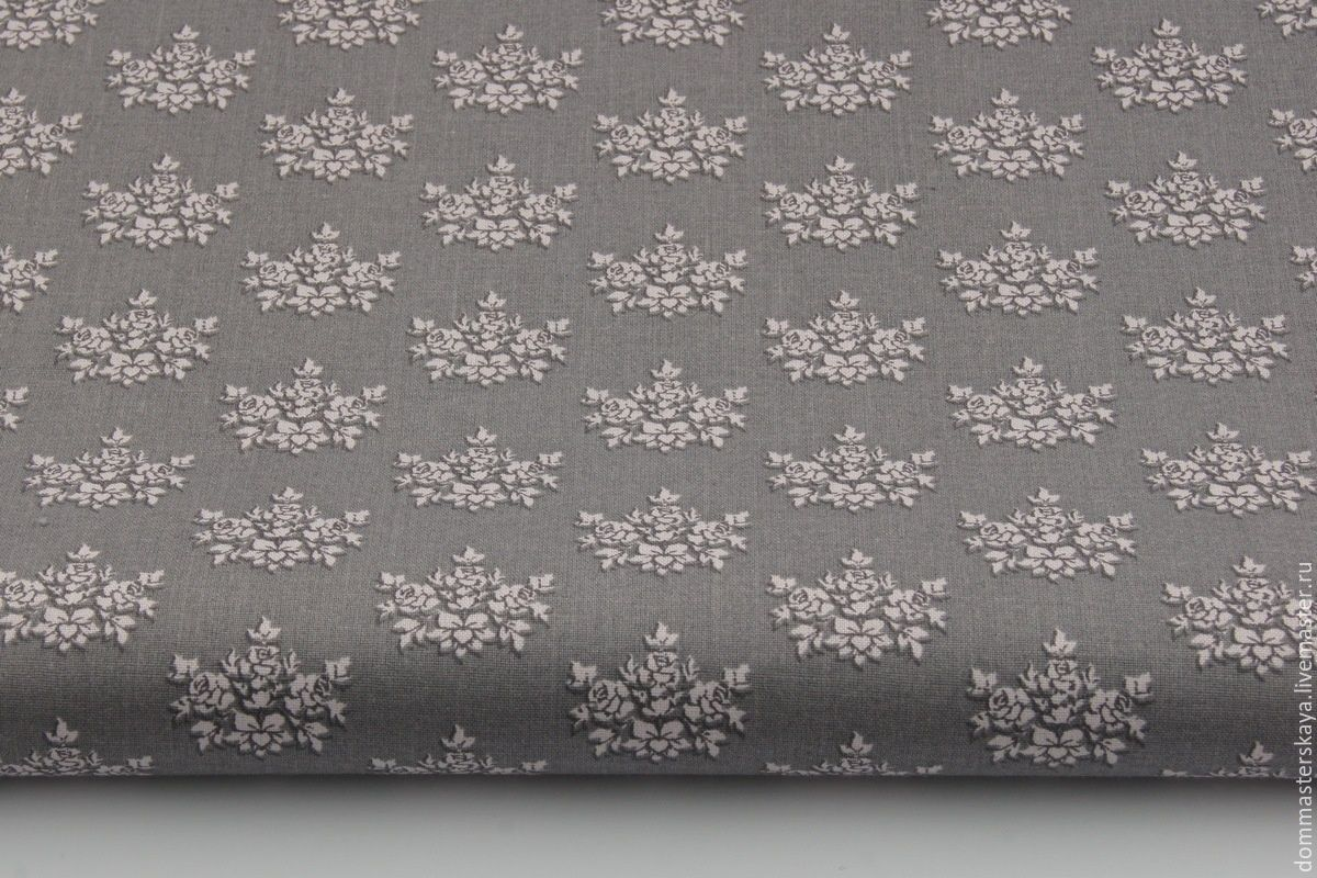 100% cotton, Poland, bouquet of pink roses on grey, Fabric, Moscow,  Фото №1