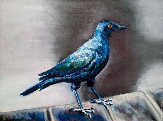 Животные ручной работы. Ярмарка Мастеров - ручная работа. Купить Африканская птичка. Handmade. Синий, птица, картина, картина маслом
