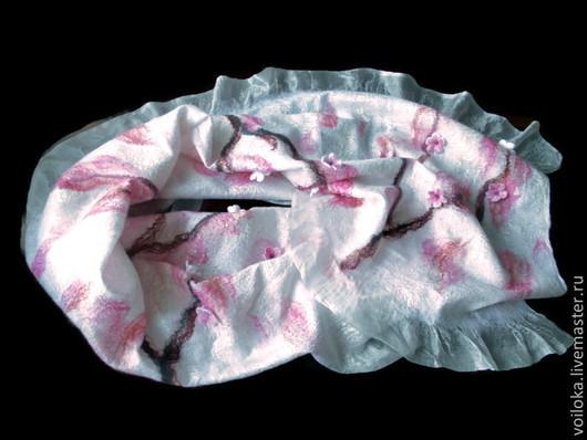 """Шали, палантины ручной работы. Ярмарка Мастеров - ручная работа. Купить Палантин """"Цветущая сакура"""". Handmade. Бледно-розовый"""