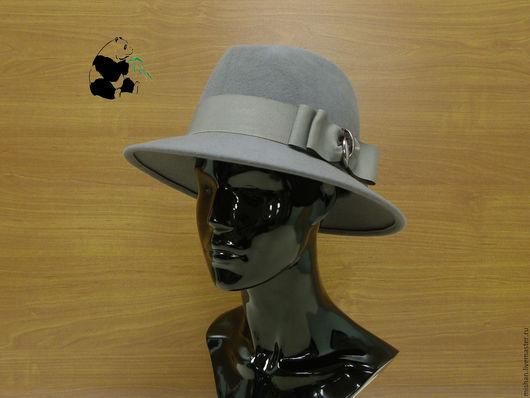 Шляпы ручной работы. Ярмарка Мастеров - ручная работа. Купить Стильная женская фетровая шляпа Федора. Серая.. Handmade. Черный