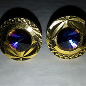 Винтаж handmade. Livemaster - original item Monarch cufflinks ENGLAND 1970s, MYSTIC SAPPHIRE, gold on Melchior.. Handmade.