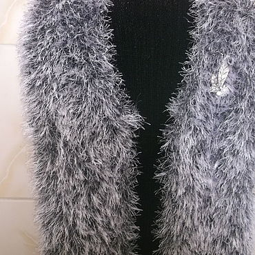 "Clothing handmade. Livemaster - original item Women`s vest is knitted from "" fur "". Handmade."