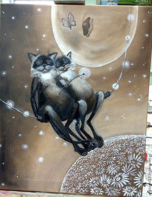 Животные ручной работы. Ярмарка Мастеров - ручная работа. Купить Влюбленные коты. Handmade. Коты на качелях, коричневый цвет