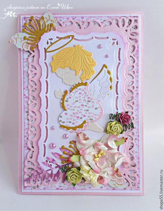 Подарки для новорожденных, ручной работы. Ярмарка Мастеров - ручная работа. Купить Открытка ручной работы  на крещение девочки. Handmade.