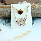 Украшения handmade. Livemaster - original item Double chain with a gold disc and a rose quartz pendant. Handmade.