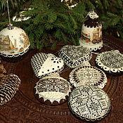 Новогодние елочные украшения Пряники расписные(9 предметов + короб)