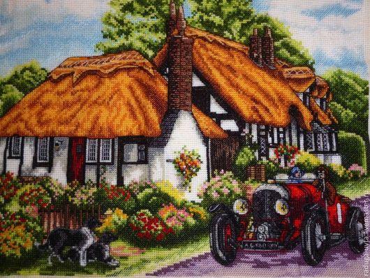 Пейзаж ручной работы. Ярмарка Мастеров - ручная работа. Купить Дом с соломенной крышей. Handmade. Пейзаж, домик, автомобиль