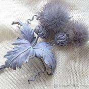 Украшения handmade. Livemaster - original item Jewelry leather brooch flower hair clip PURPLE THISTLEH-2. Handmade.