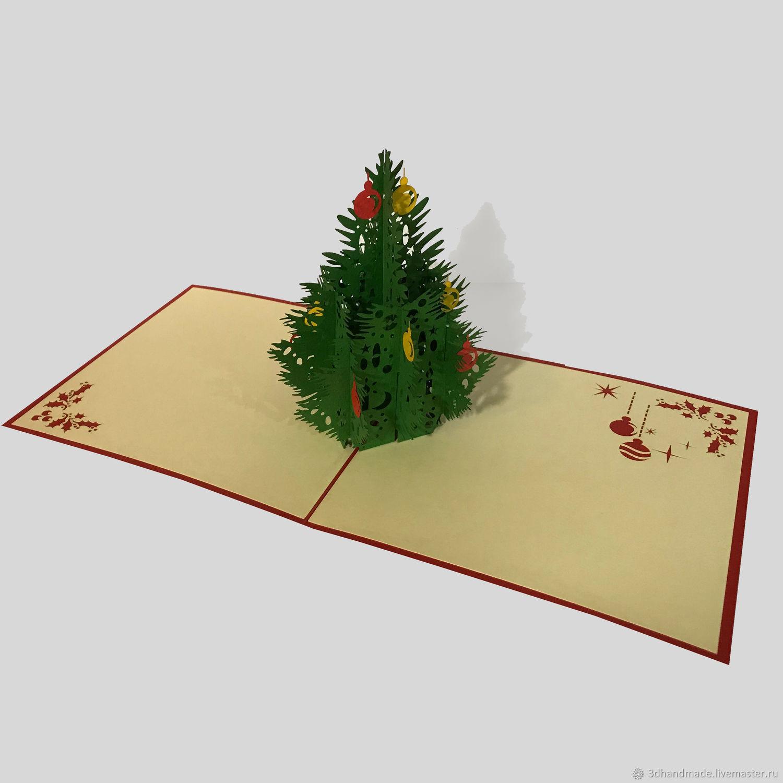 Как сделать 3 д открытку елка, сделать открытку для