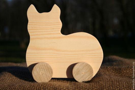 Кошка-каталка деревянная игрушка ручной работы