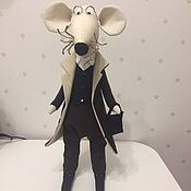Мягкие игрушки ручной работы. Ярмарка Мастеров - ручная работа Ушастый профессор крыс с портфелем. Handmade.