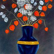"""Картины ручной работы. Ярмарка Мастеров - ручная работа Картина """"Физалис и лунария"""". Handmade."""
