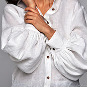 Одежда handmade. Livemaster - original item Linen shirt with voluminous sleeves. Handmade.