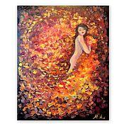 Картины и панно handmade. Livemaster - original item Painting Girl and autumn leaves. Handmade.