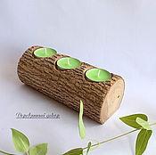Подсвечники ручной работы. Ярмарка Мастеров - ручная работа Подсвечник декоративный на спиле дерева эко стиль. Handmade.
