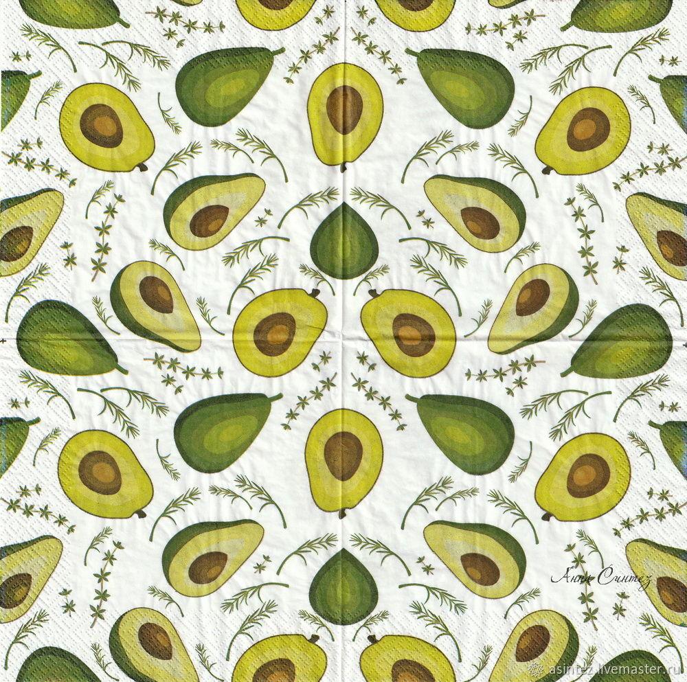 Decoupage napkins green avocado with bone, Napkins for decoupage, Moscow,  Фото №1