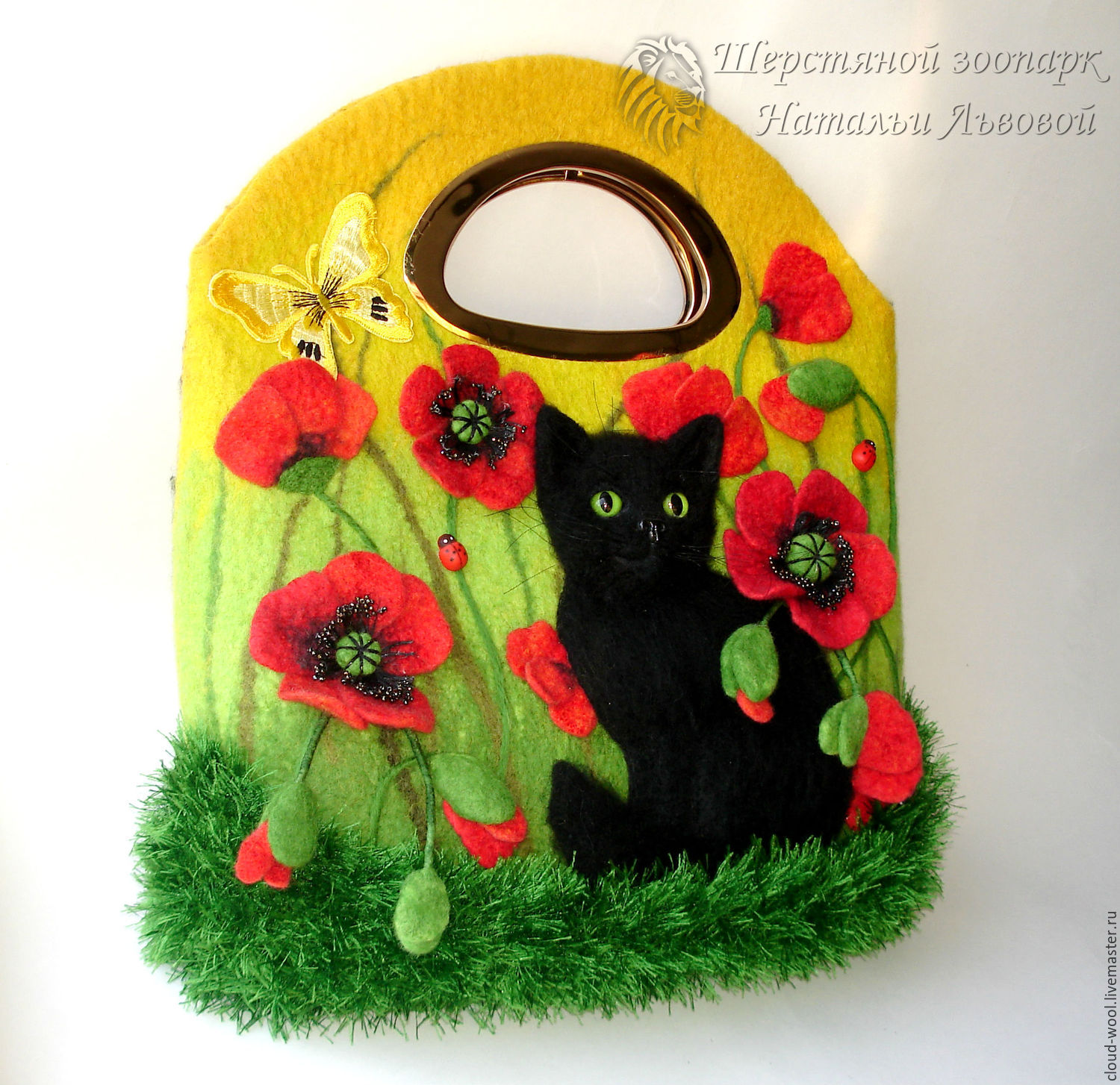 Bag Black Cat And Poppies Felted Wool Felt