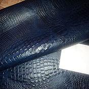 """Материалы для творчества ручной работы. Ярмарка Мастеров - ручная работа Натуральная кожа """"Синий кроко с чернью"""" винтаж. Handmade."""