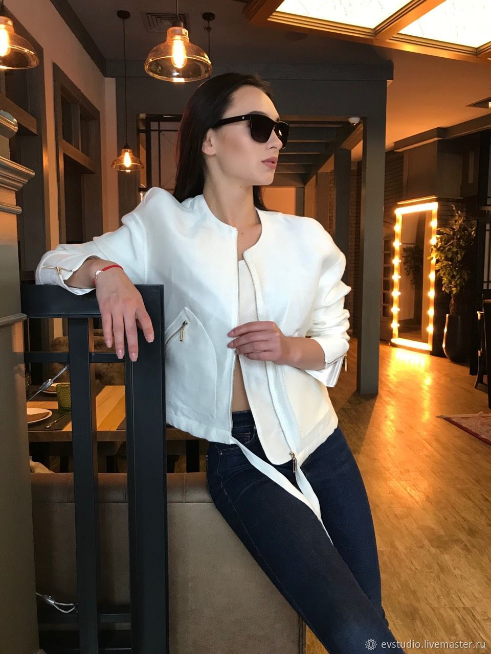 Easy white jacket made of silk, Suit Jackets, Kiev,  Фото №1