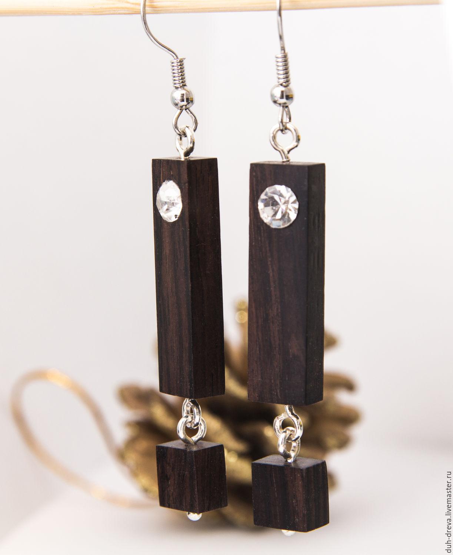 Earrings made of black wood