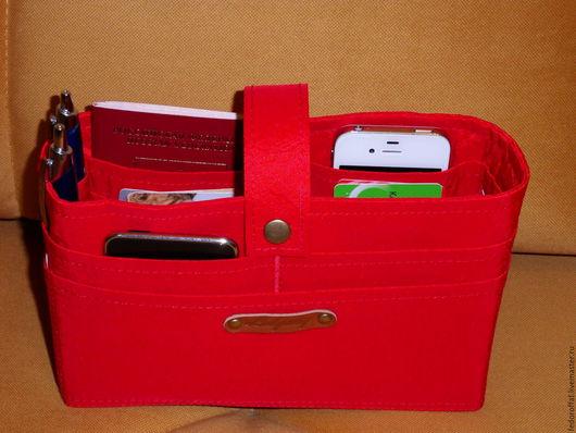 """Органайзеры для сумок ручной работы. Ярмарка Мастеров - ручная работа. Купить Органайзер для сумки """"Красный"""". Handmade. Разноцветный, косметичка"""