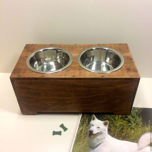 """Аксессуары для собак, ручной работы. Ярмарка Мастеров - ручная работа. Купить Подставка под 2 миски """"Лофт"""". Handmade. Для собак"""