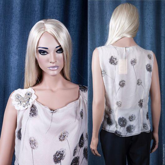"""Блузки ручной работы. Ярмарка Мастеров - ручная работа. Купить Шифоновая блузка-""""Одуванчики"""". Handmade. Белый, цветочный, серый цвет"""