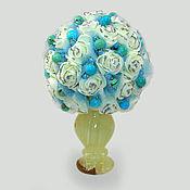 """Цветы и флористика ручной работы. Ярмарка Мастеров - ручная работа Цветы из бирюзы """"Бирюзовый букет"""" в вазочке из оникса. Handmade."""
