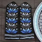 Аксессуары ручной работы. Ярмарка Мастеров - ручная работа вязаные варежки серо-синие. Handmade.