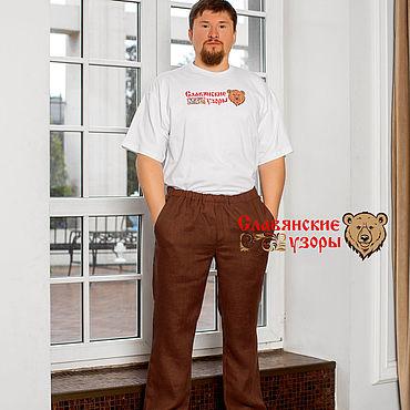 Одежда ручной работы. Ярмарка Мастеров - ручная работа Брюки льняные коричневые. Handmade.