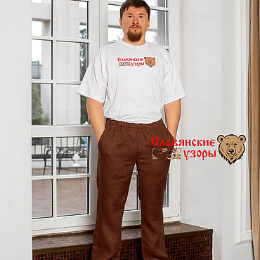 Clothing handmade. Livemaster - original item Trousers linen brown. Handmade.