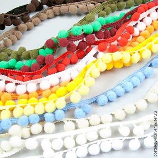 Шитье ручной работы. Ярмарка Мастеров - ручная работа. Купить Тесьма с помпонами разных цветов. Handmade. Помпоны, тесьма для игрушек