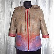 Одежда ручной работы. Ярмарка Мастеров - ручная работа Кофта куртка валяная с капюшоном. Handmade.