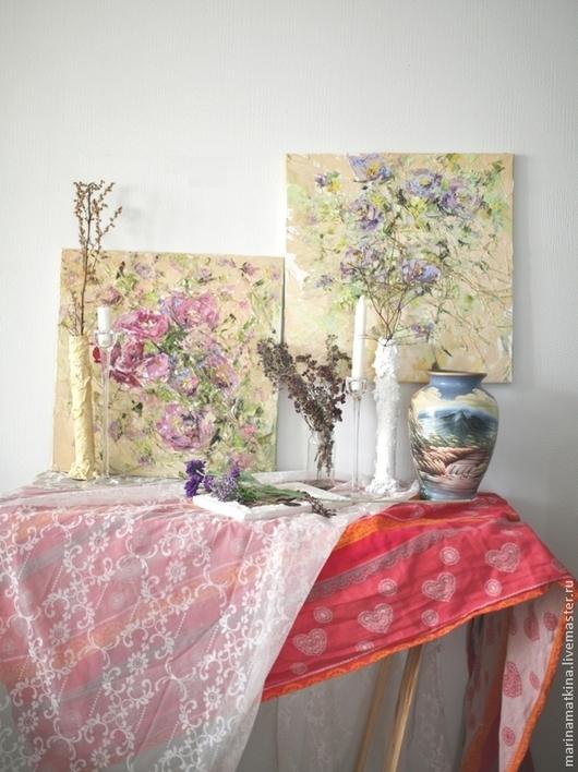 картина маслом на холсте с подрамником, большой диптих для кухни гостиной столовой бежевая сиреневая розовая фиолетовая картина, большая картина