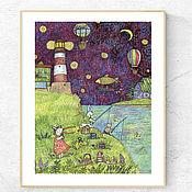 handmade. Livemaster - original item Poster on the wall Painting lighthouse Summer Landscape for interior. Handmade.