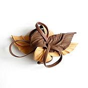 Украшения handmade. Livemaster - original item Automatic hair clip flower with loops Nymph pastel pink powder leather. Handmade.
