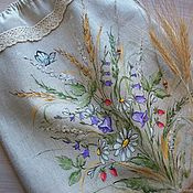 Для дома и интерьера handmade. Livemaster - original item Linen bag for bread painted. Wildflowers. Handmade.