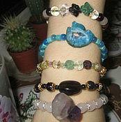 Украшения handmade. Livemaster - original item Very beautiful Bracelet with garnet and fluorite carved stone. Handmade.