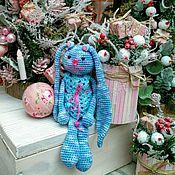 Куклы и игрушки ручной работы. Ярмарка Мастеров - ручная работа Зайка. Синяя в платье. Handmade.