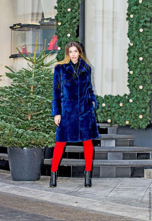 Верхняя одежда ручной работы. Ярмарка Мастеров - ручная работа. Купить норковое пальто. Handmade. Тёмно-синий, зимняя мода