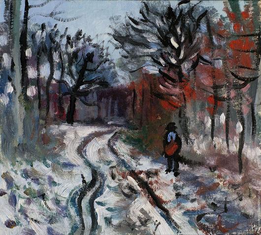 Пейзаж ручной работы. Ярмарка Мастеров - ручная работа. Купить Тропинка через лес - эффект снега. Клод Моне. Handmade.