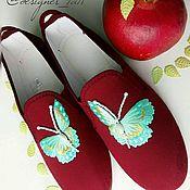 """Обувь ручной работы. Ярмарка Мастеров - ручная работа Дизайнерские испанские кеды """"Бабочки"""". Handmade."""