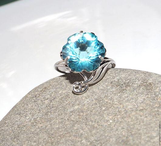 """Кольца ручной работы. Ярмарка Мастеров - ручная работа. Купить Кольцо """"Голубой лотос"""" серебро 925 пробы. Handmade."""