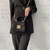 Сумки и аксессуары handmade. Livemaster - original item Black Python Leather Crossbody Bag. Handmade.